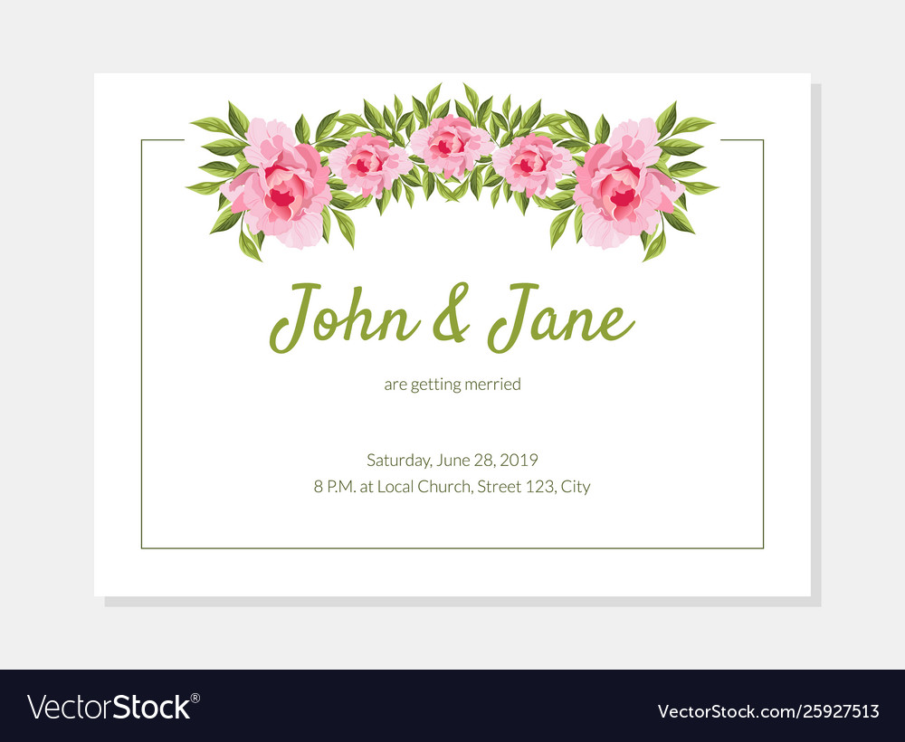 elegant flowers frame wedding invitation card vector image vectorstock