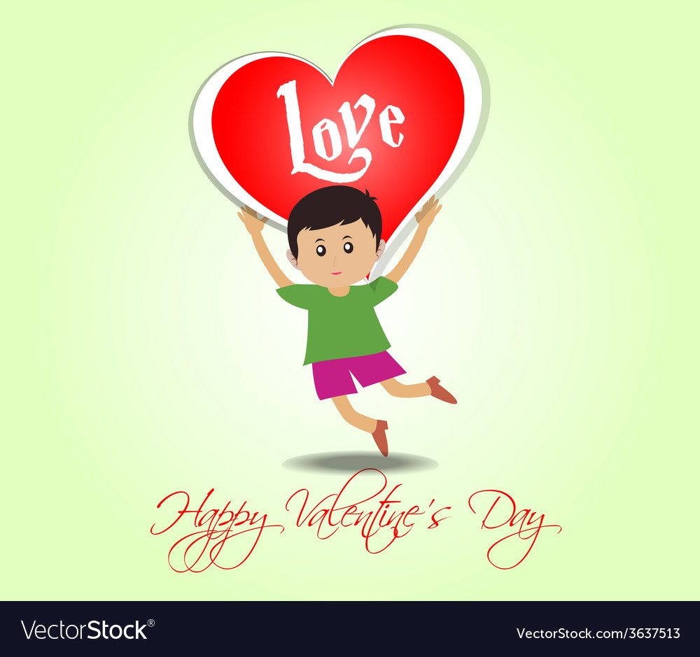 Happy Valentines Day With Kids And Heart Vector Image
