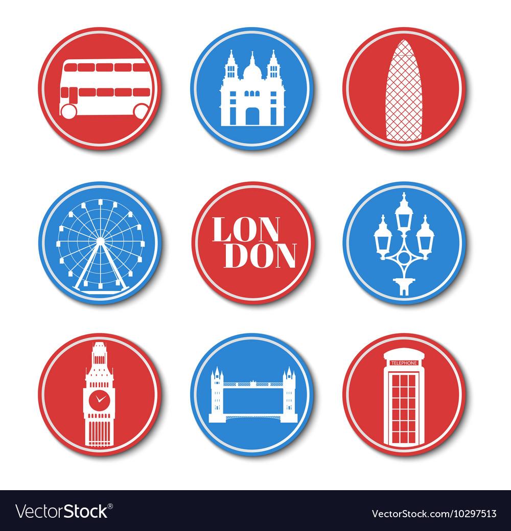 London Set round stickers