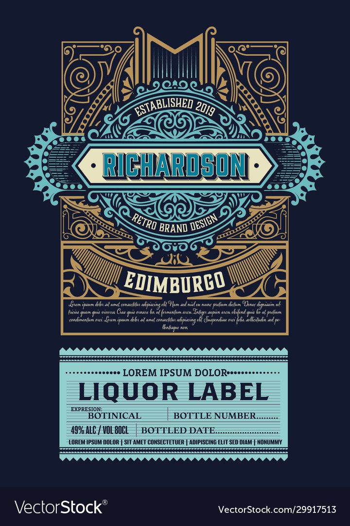Luxury liquor label with floral ornaments