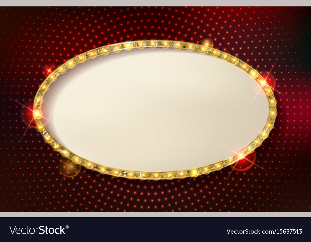 marquee stylish oval frames with light bulbs vector image