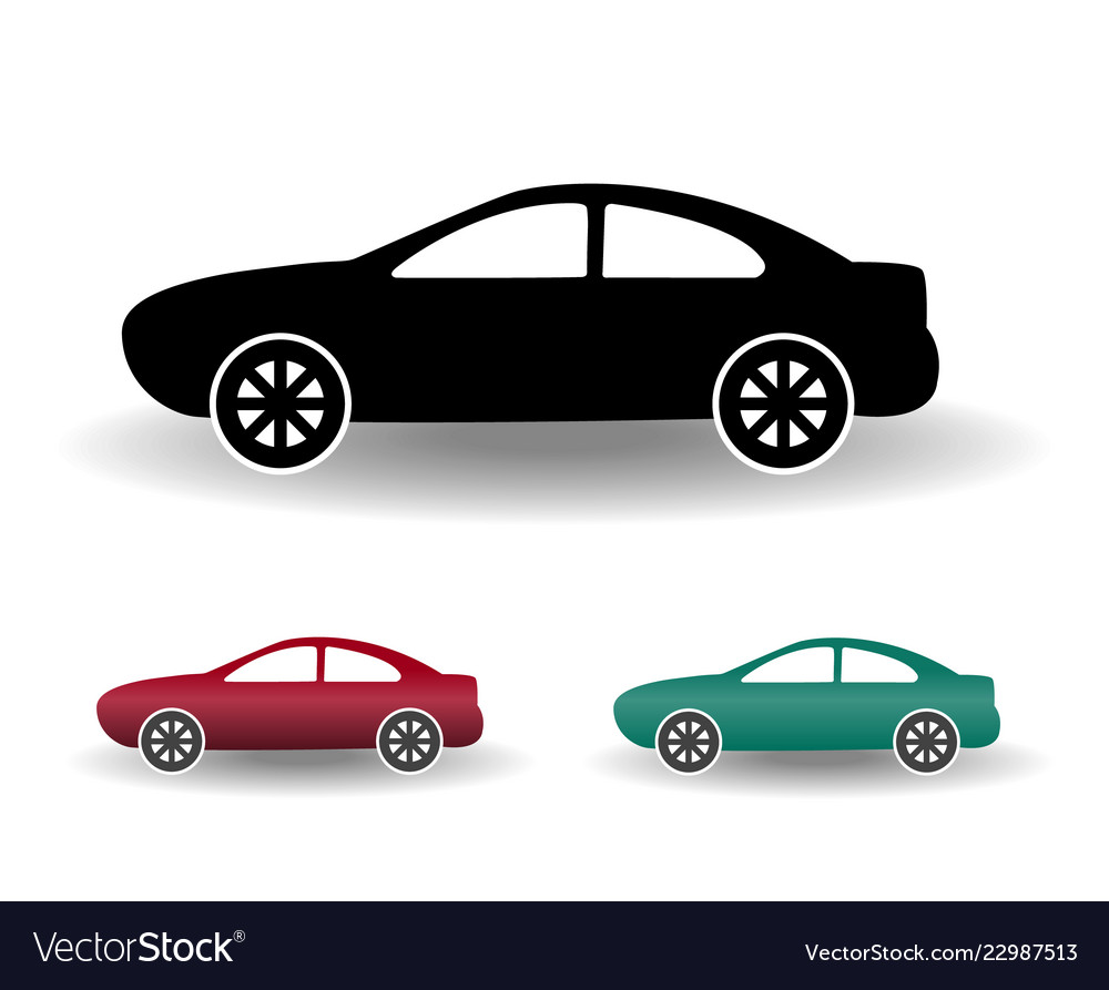Modern car icon black and white flat simple with