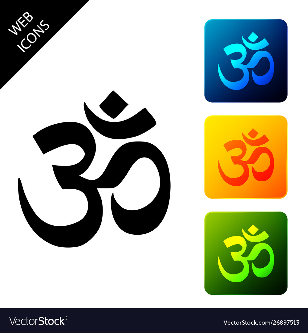 Om or aum indian sacred sound icon symbol of