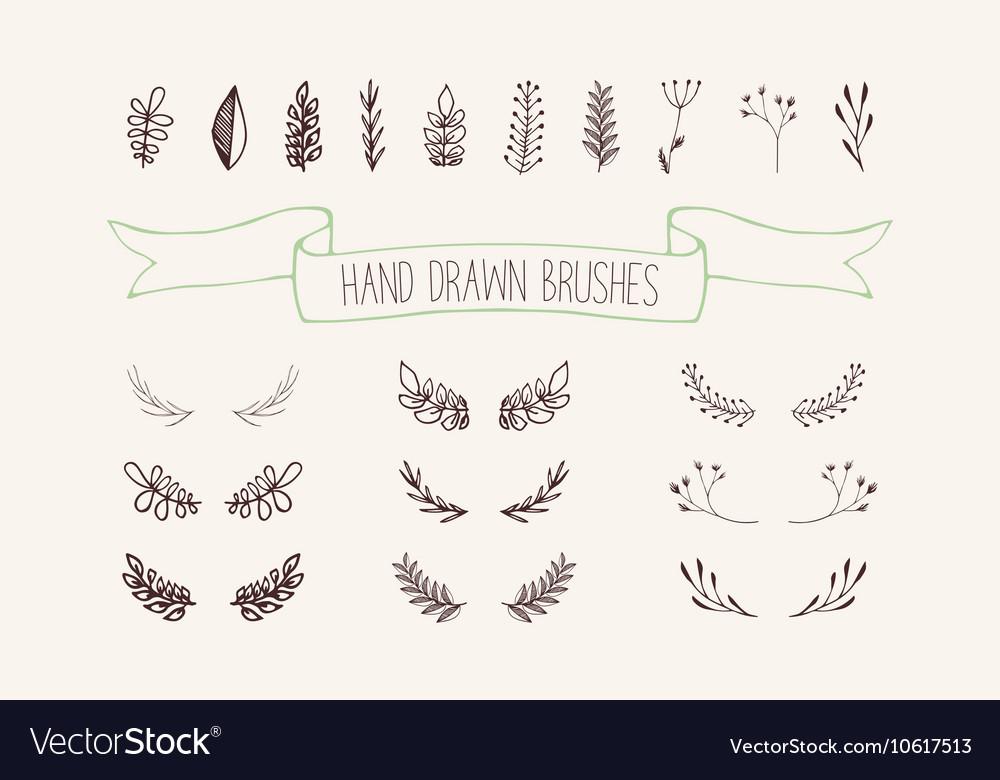 Set hand drawn wreaths Floral design elements