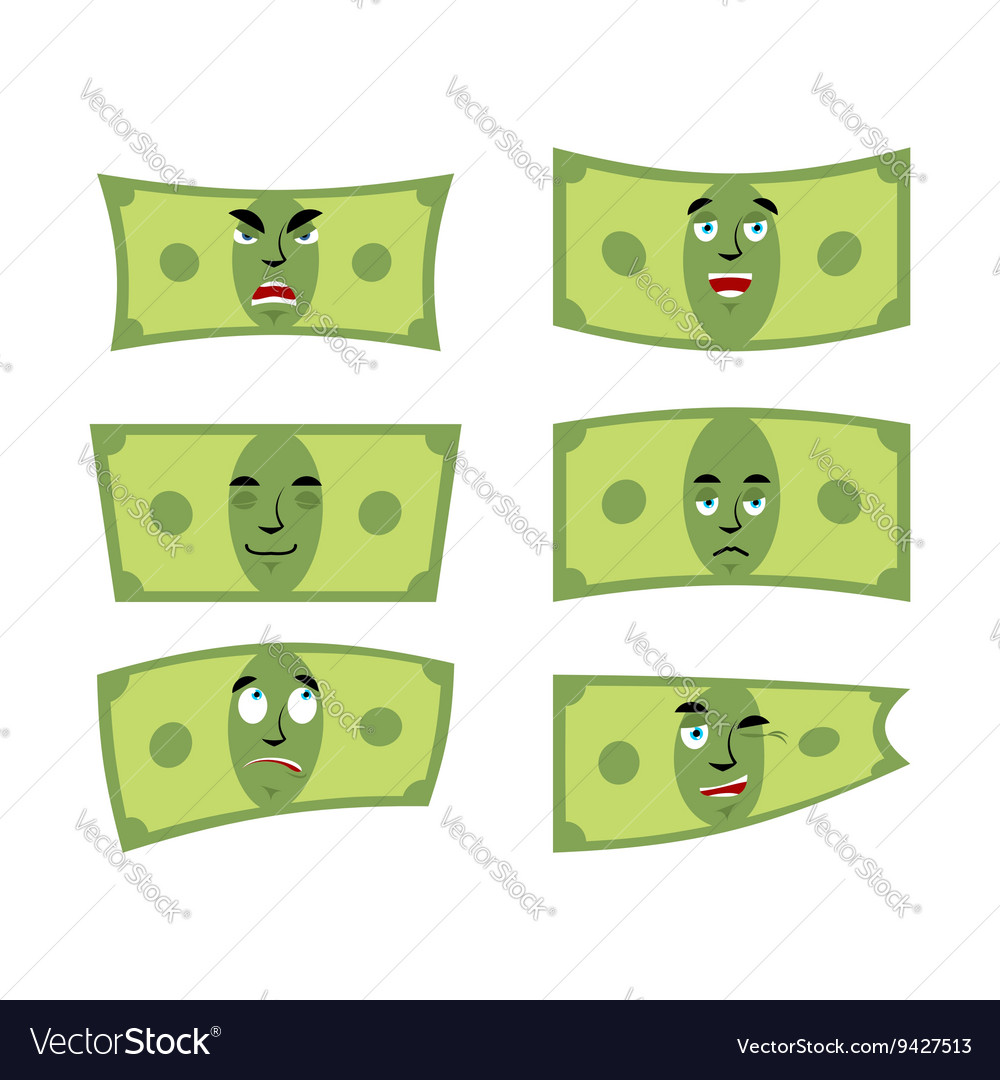 Set money Dollar with emotions Cheerful and angry