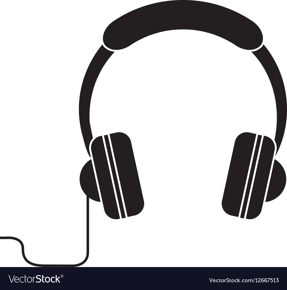 Silhouette headphones music listen mobile vector image