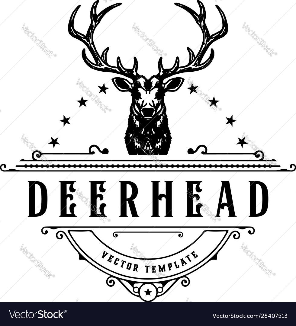 Vintage style deer head logo hand