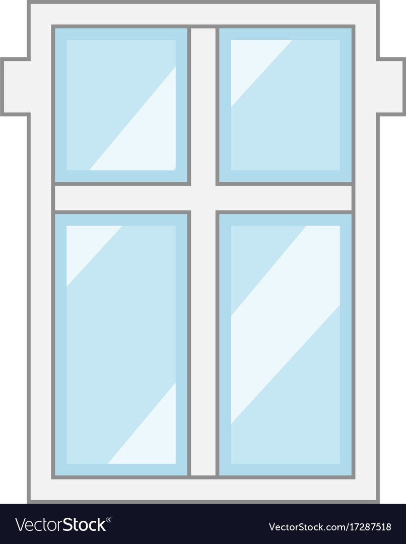Big window frame icon cartoon style Royalty Free Vector