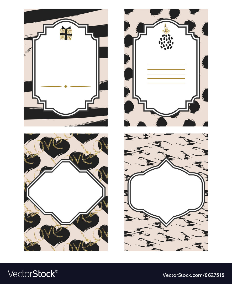 Birthday Card Black And White Template Set Gold Vector Image