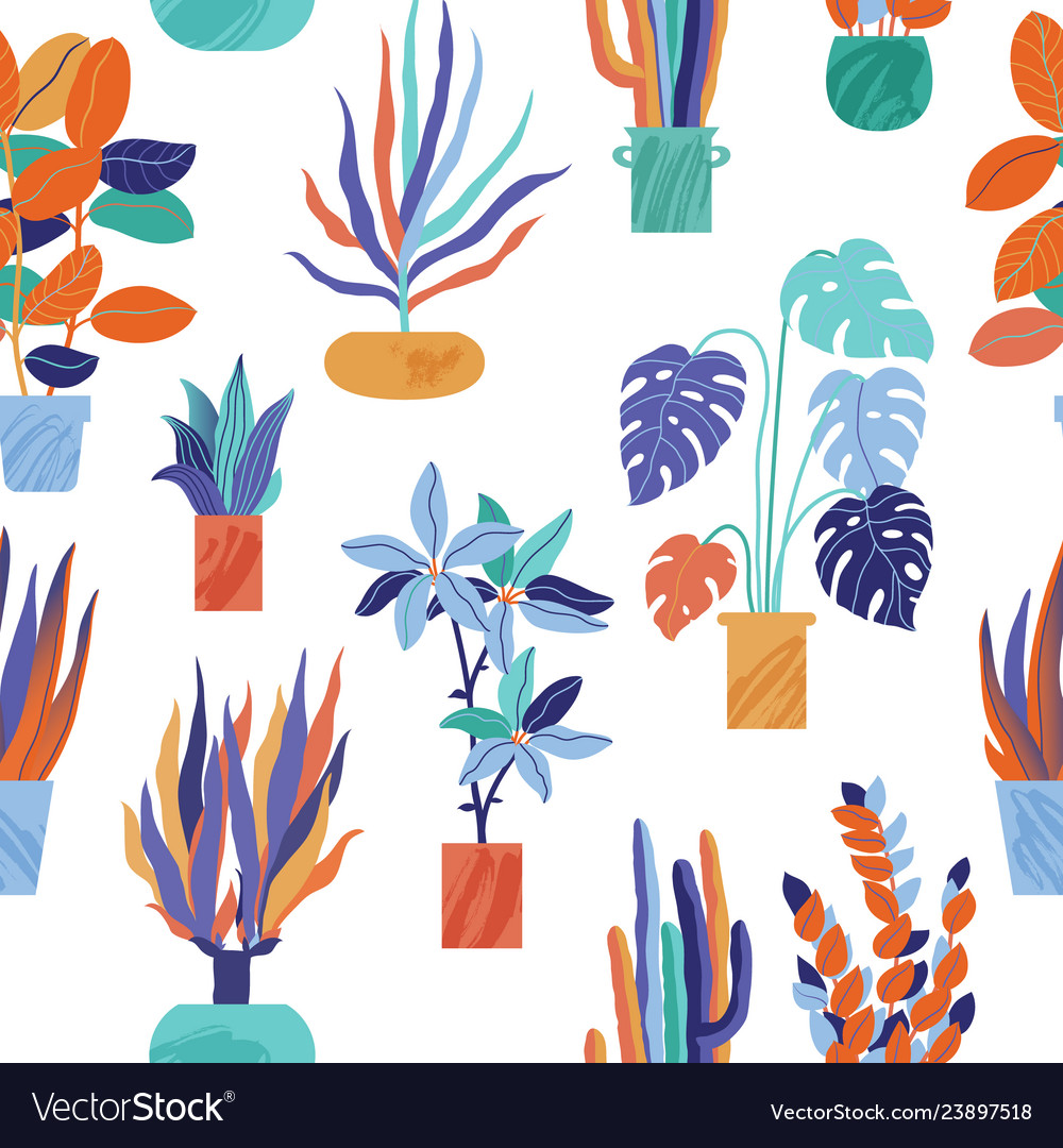 Bright seamless pattern with funky houseplants