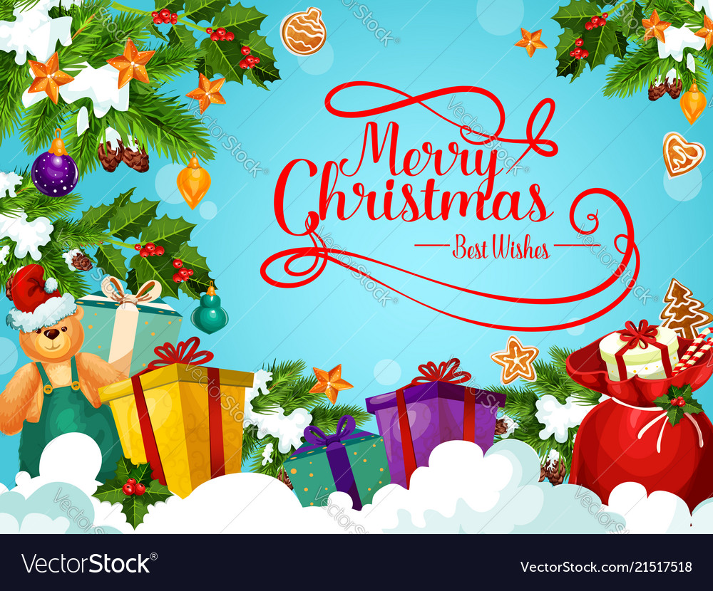 Christmas Holiday Greeting Card With Santa Gift Vector Image