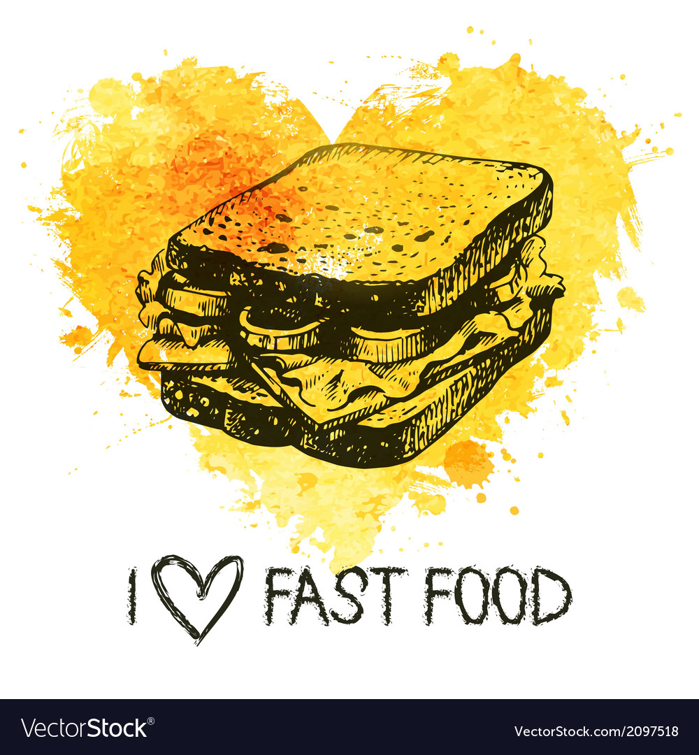 Fast food background with splash watercolor heart