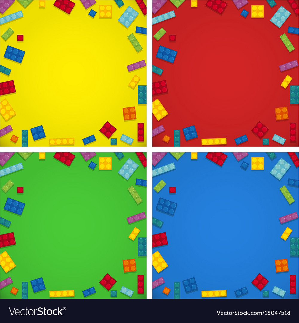 Four background templates with colorful blocks Vector Image