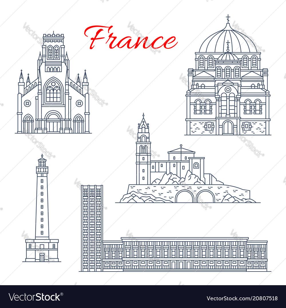 France travel landmarks icons
