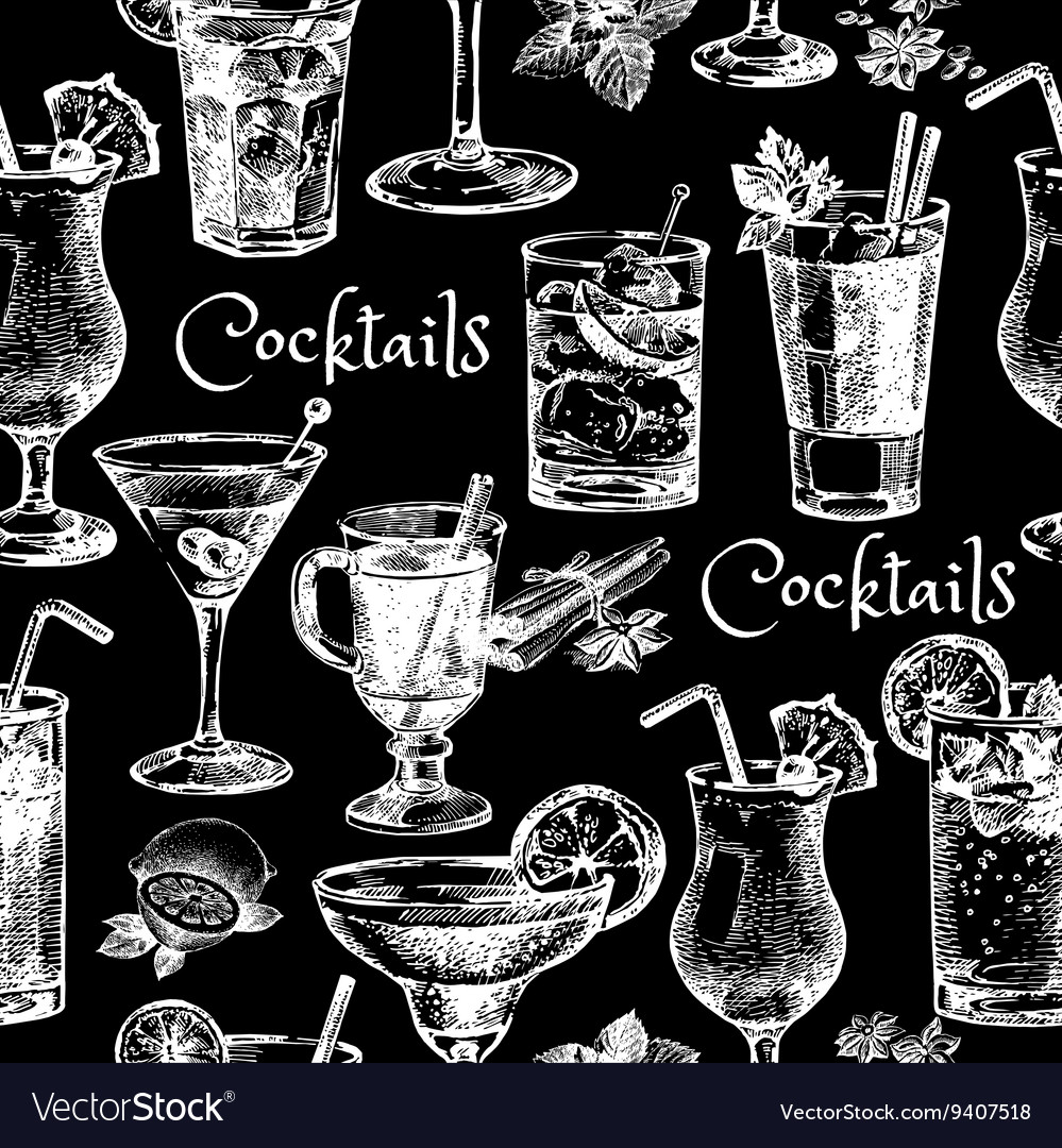 Hand drawn sketch cocktails seamless pattern