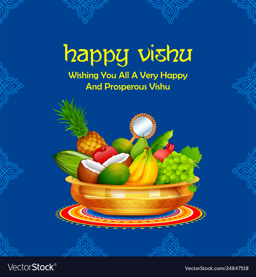 happy vishu new year hindu festival celebrated in vector image vectorstock