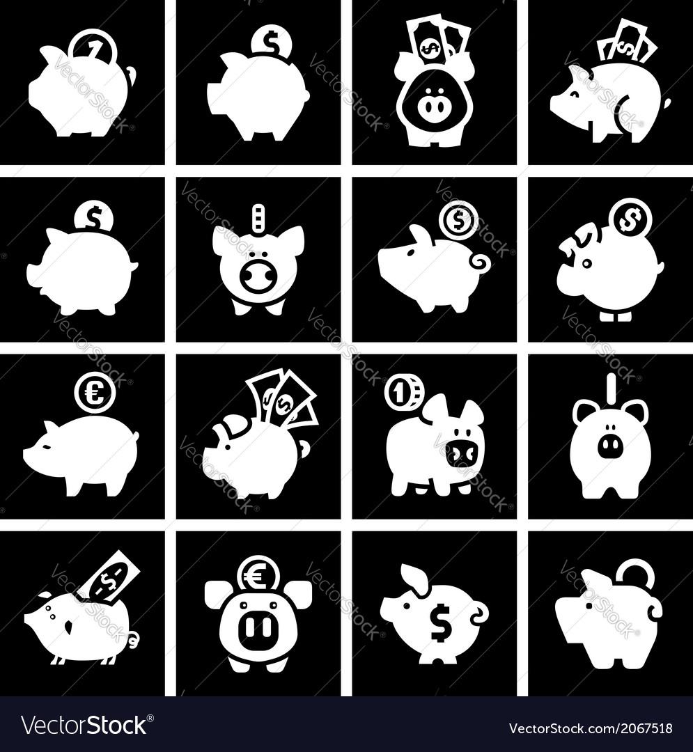 Piggy bank set white icons on black squares