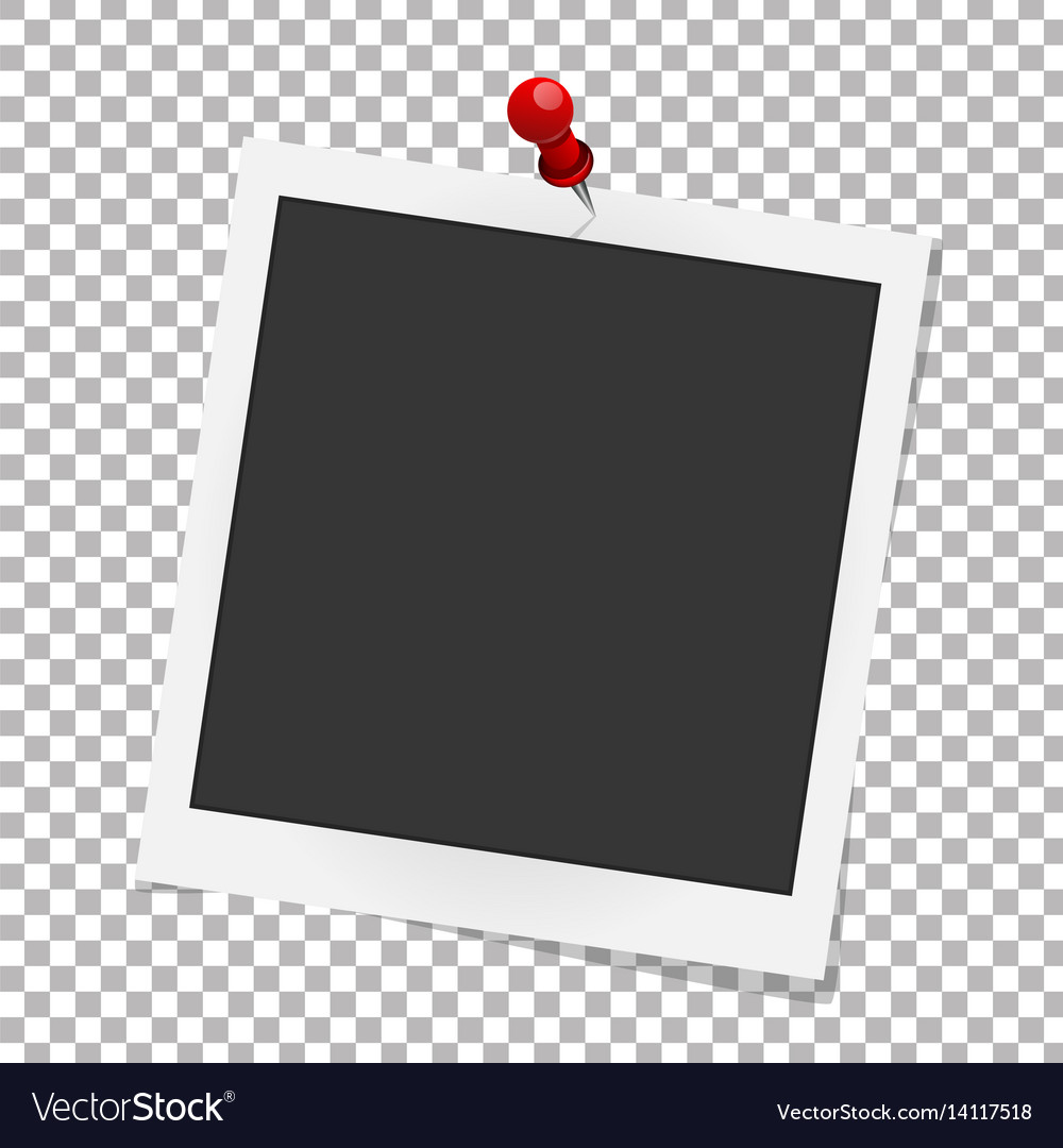 realistic photo frame on red pin template photo vector image