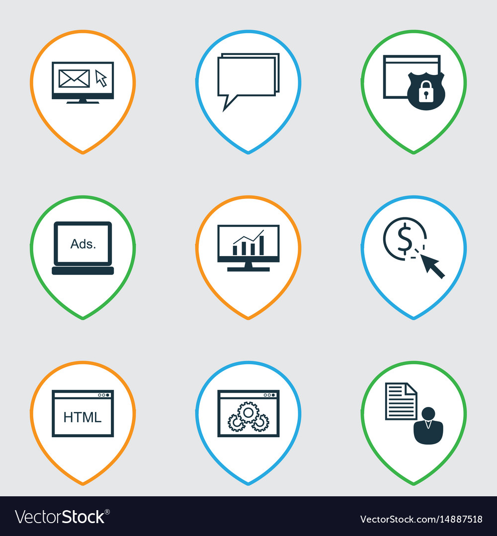 Set of 9 marketing icons includes conference