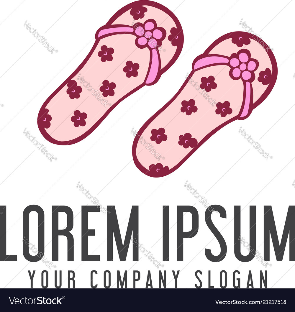 Slippers woman logo vacation design concept