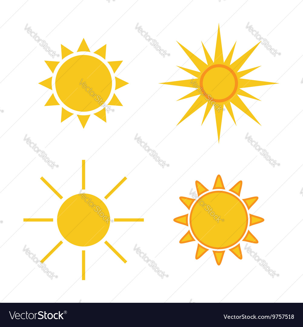 Sun icons set Collection light yellow signs