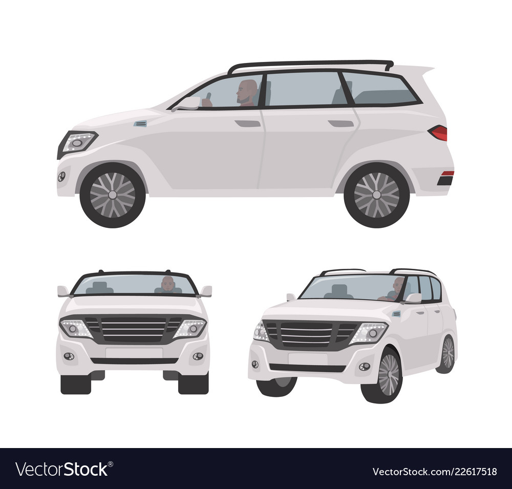 White off-roader cuv car or automobile isolated