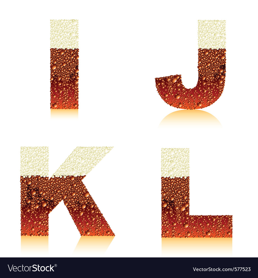 Alphabet dark beer ijkl