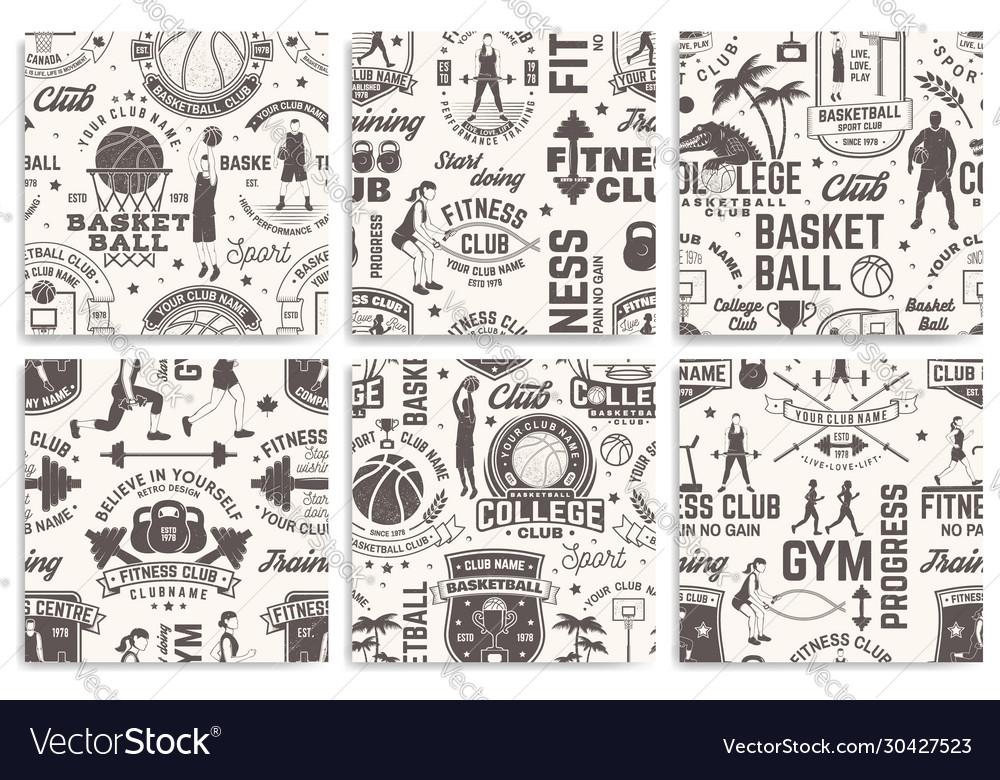 Basketball and fitness club seamless pattern