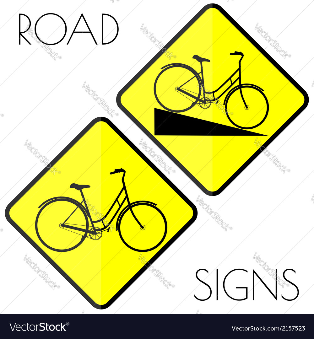 Bicycle yellow road signs