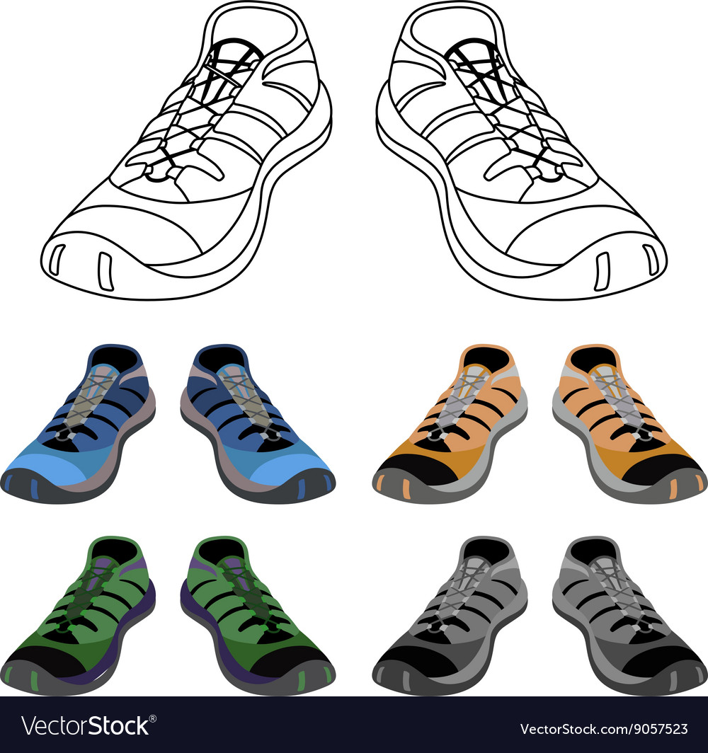 Black outlined colored sneakers shoes set