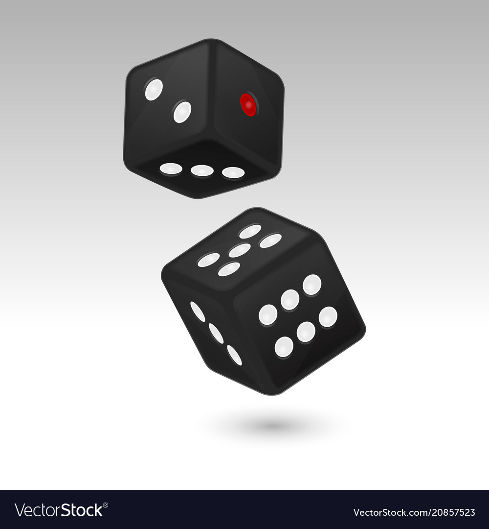 Black realistic game dice