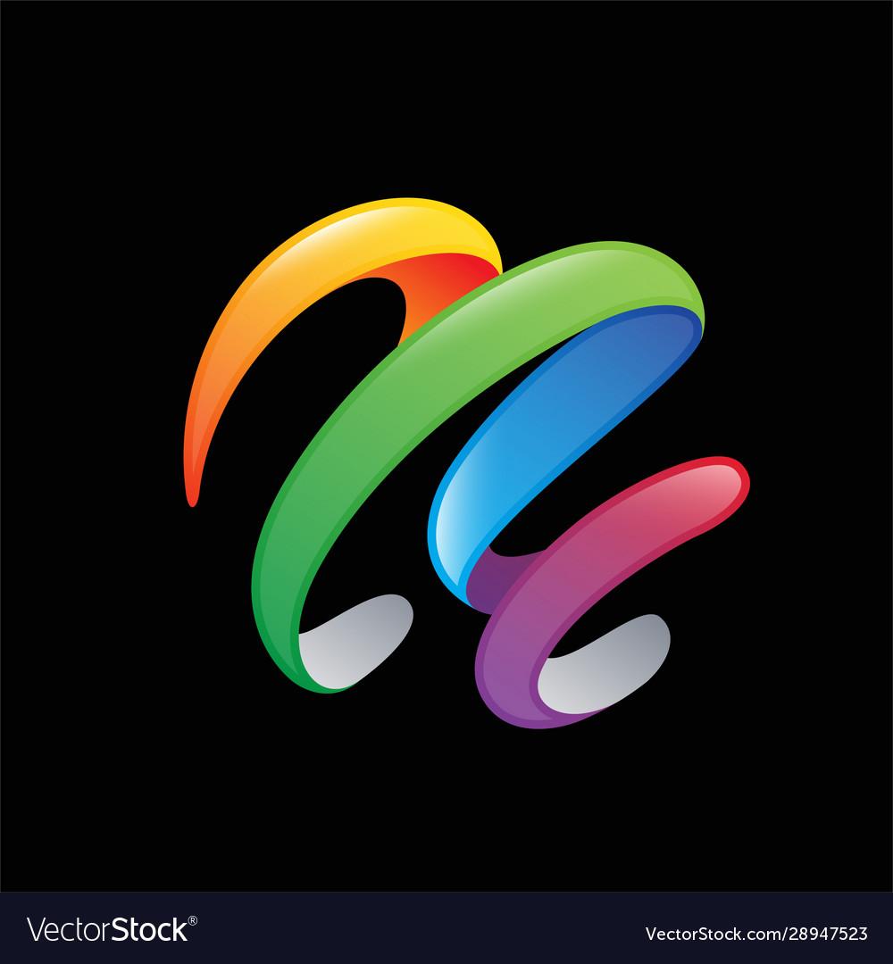 Colorful ribbon abstract 3d logo