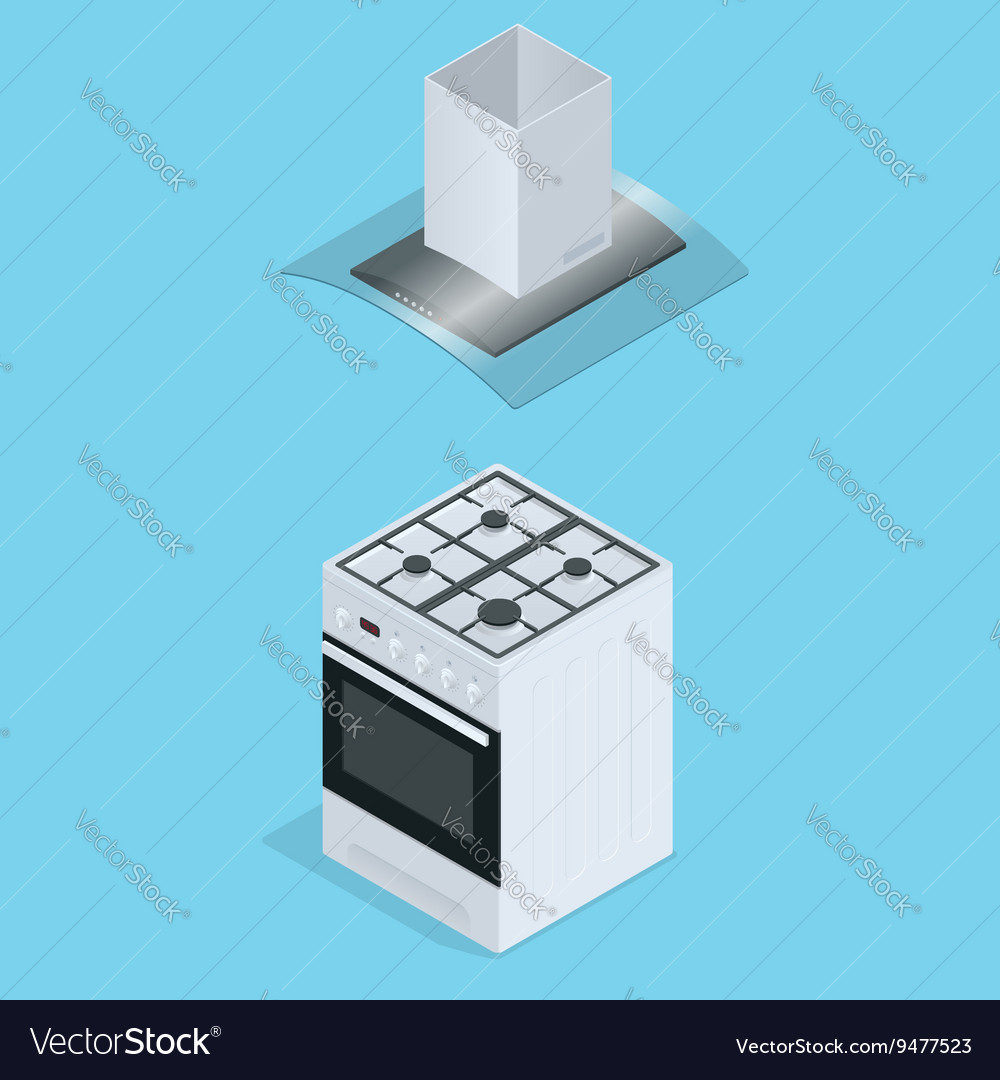Interior of kitchen metal pan on the stove vector image