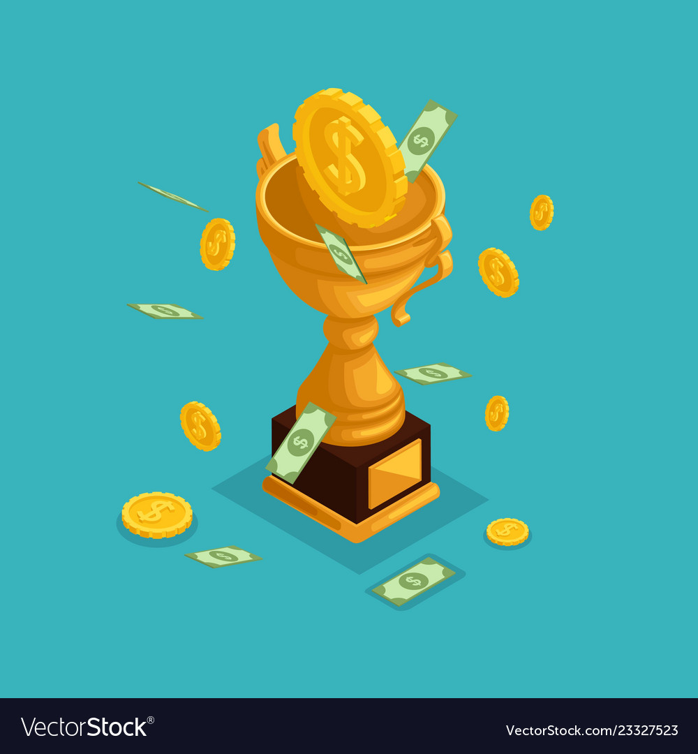 Isometric objects cup award money prize
