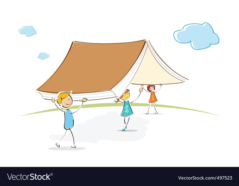 Kids under book vector image