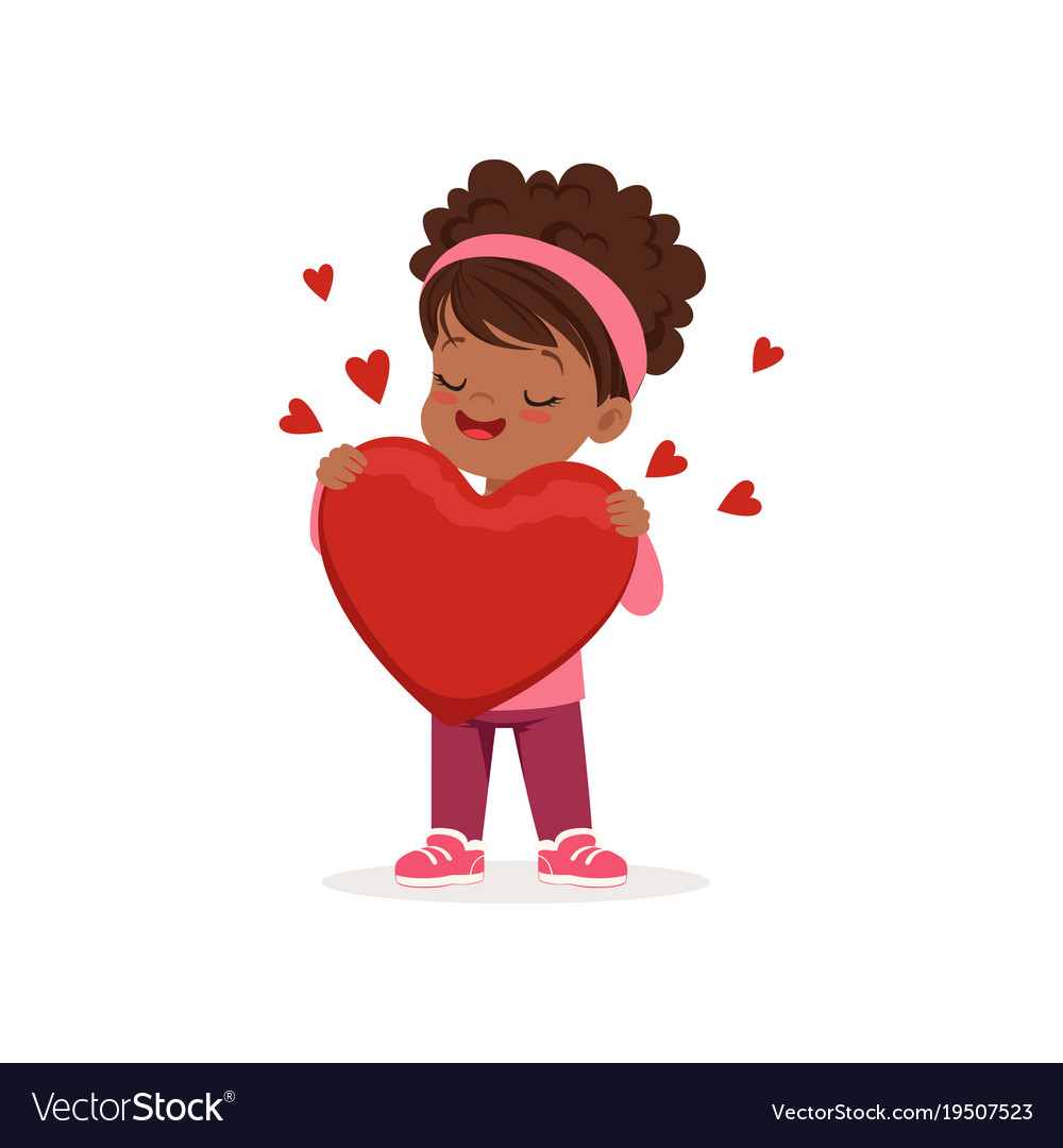Lovely little african american girl holding red vector image