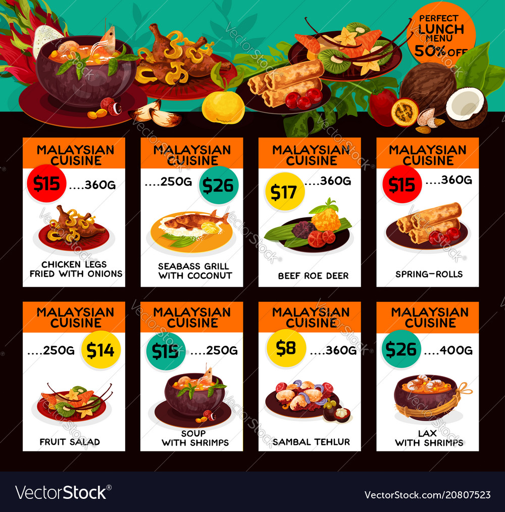 Price menu for malaysian cuisine lunch