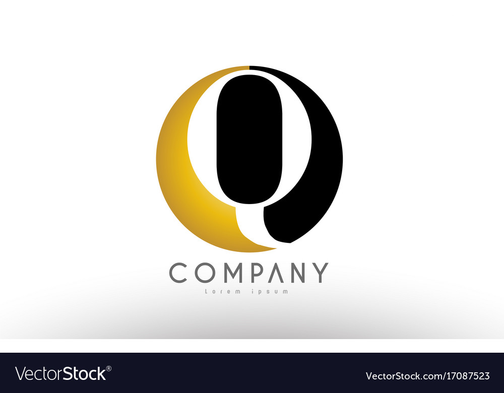 Q Black White Gold Golden Letter Logo Design Vector Image