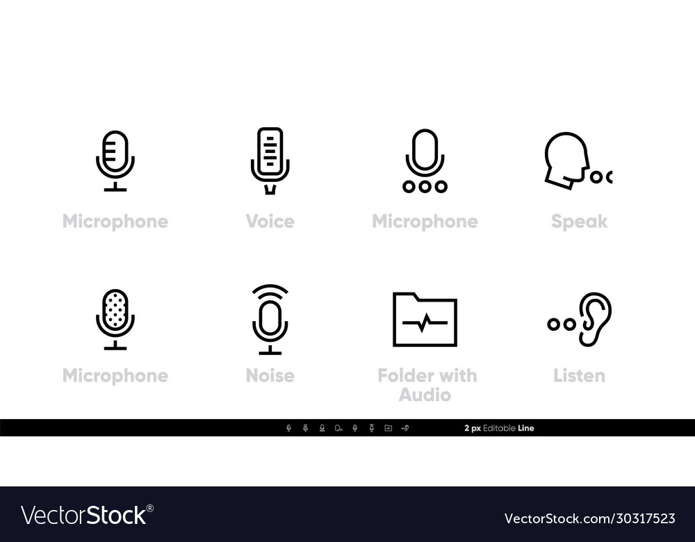 Retro microphone for studio icons abstract voice