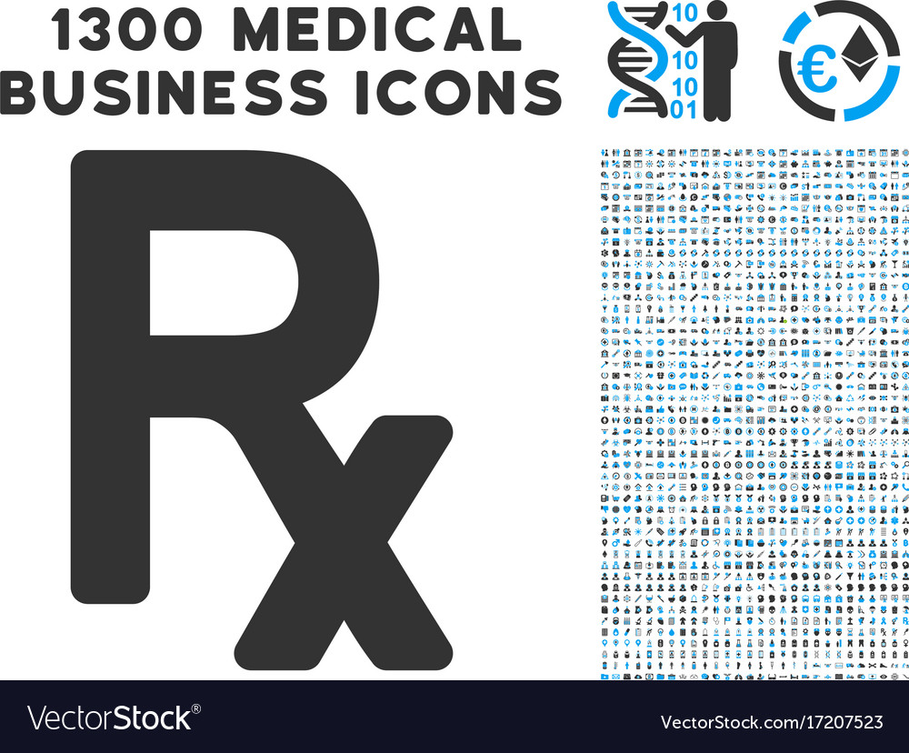 Rx Symbol Icon With 1300 Medical Business Icons Vector Image
