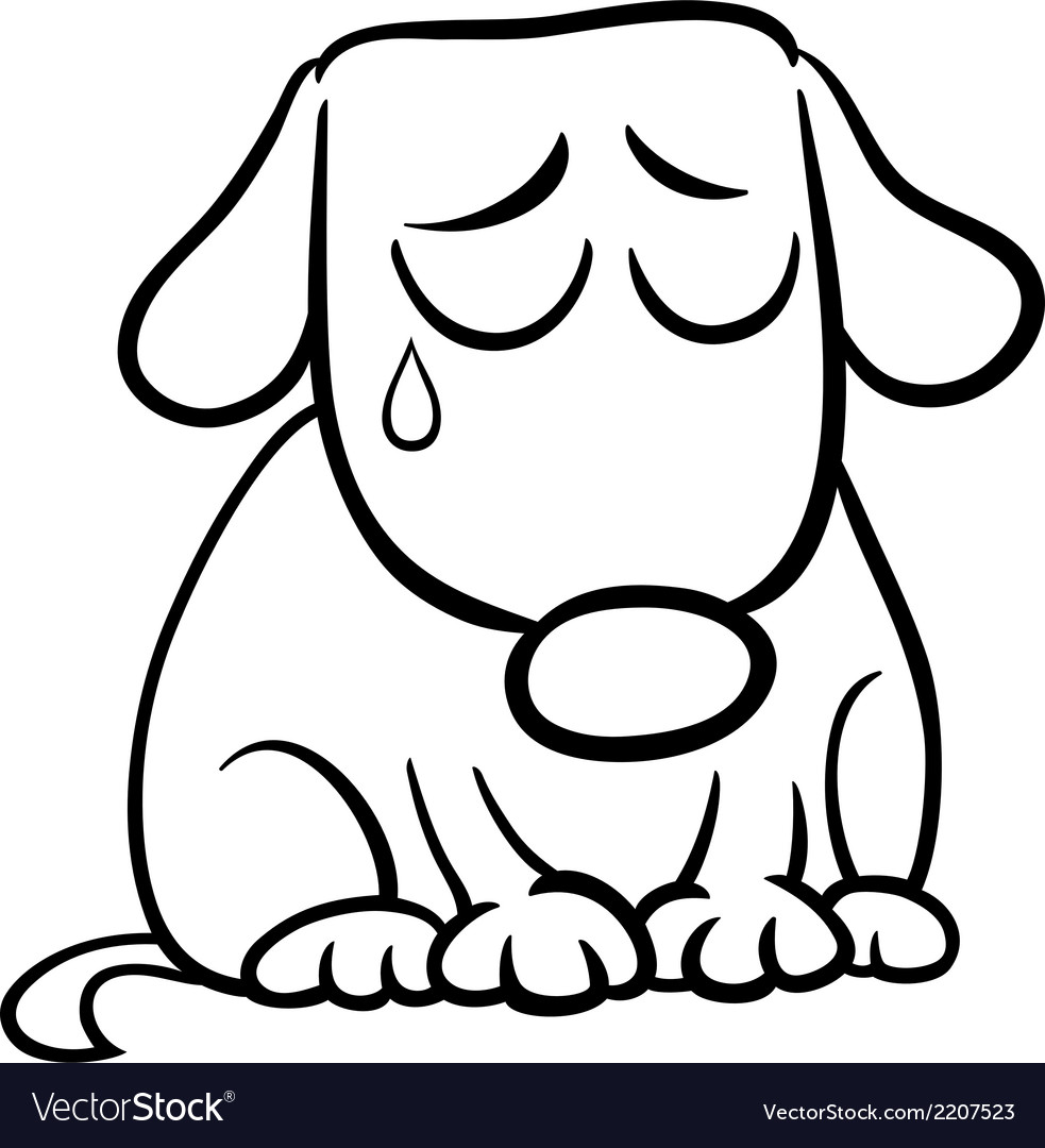 sad dog cartoon coloring page royalty free vector image rh vectorstock com sad dog cartoon droopy depressed white dog cartoon