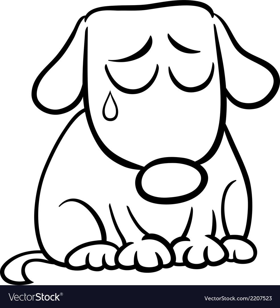 Sad dog cartoon coloring page Royalty Free Vector Image
