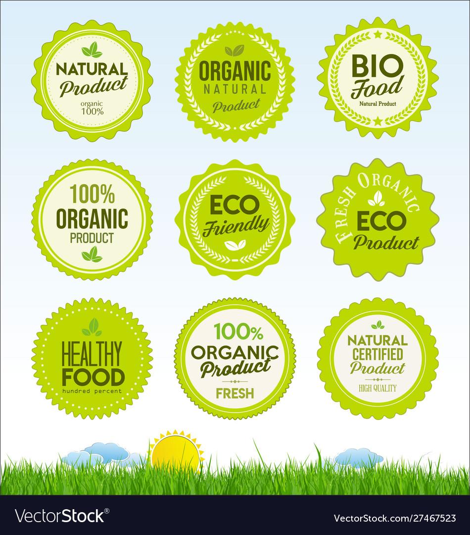 Set healthy organic farm fresh product badges