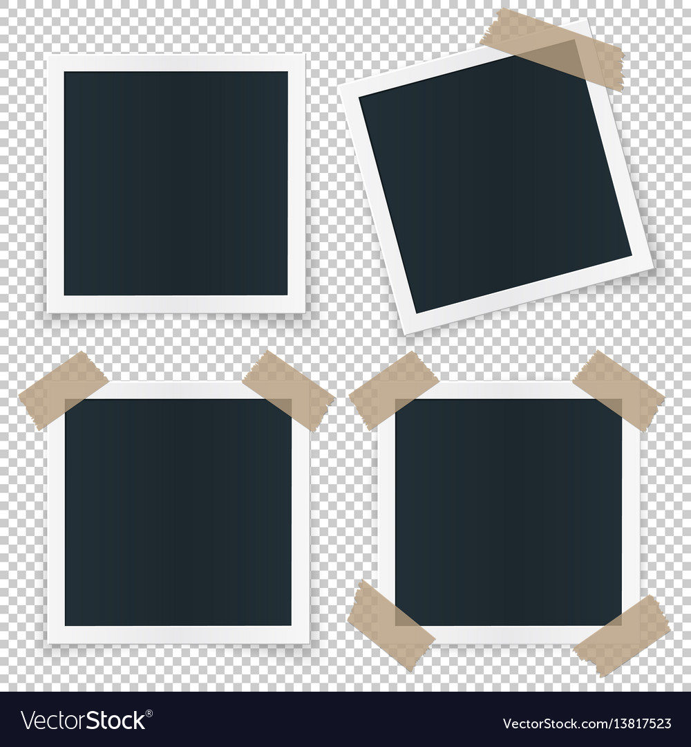 Set of 4 different image frames with shadow