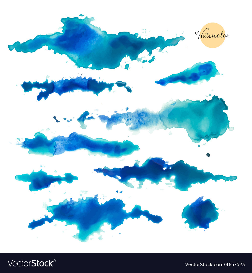 Set of abstract watercolor spots