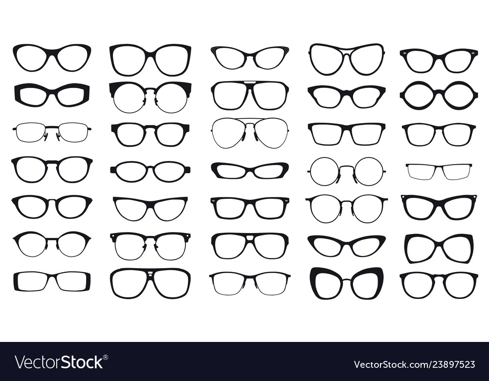 Set of black glasses on white background