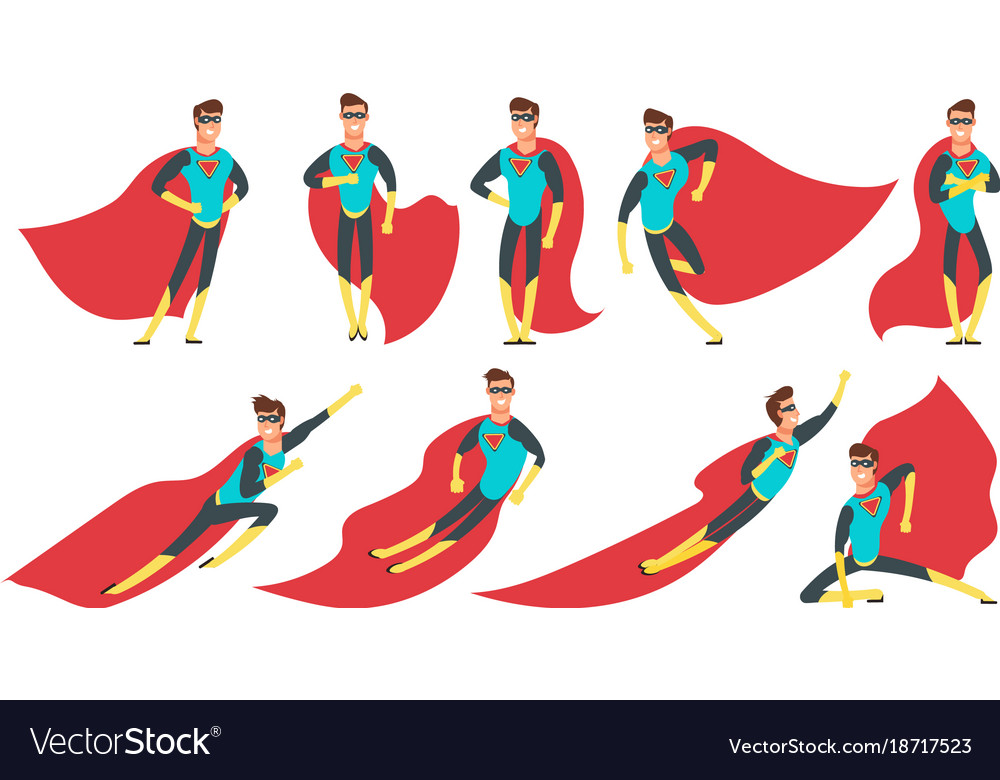 Superhero man in different poses cartoon vector image