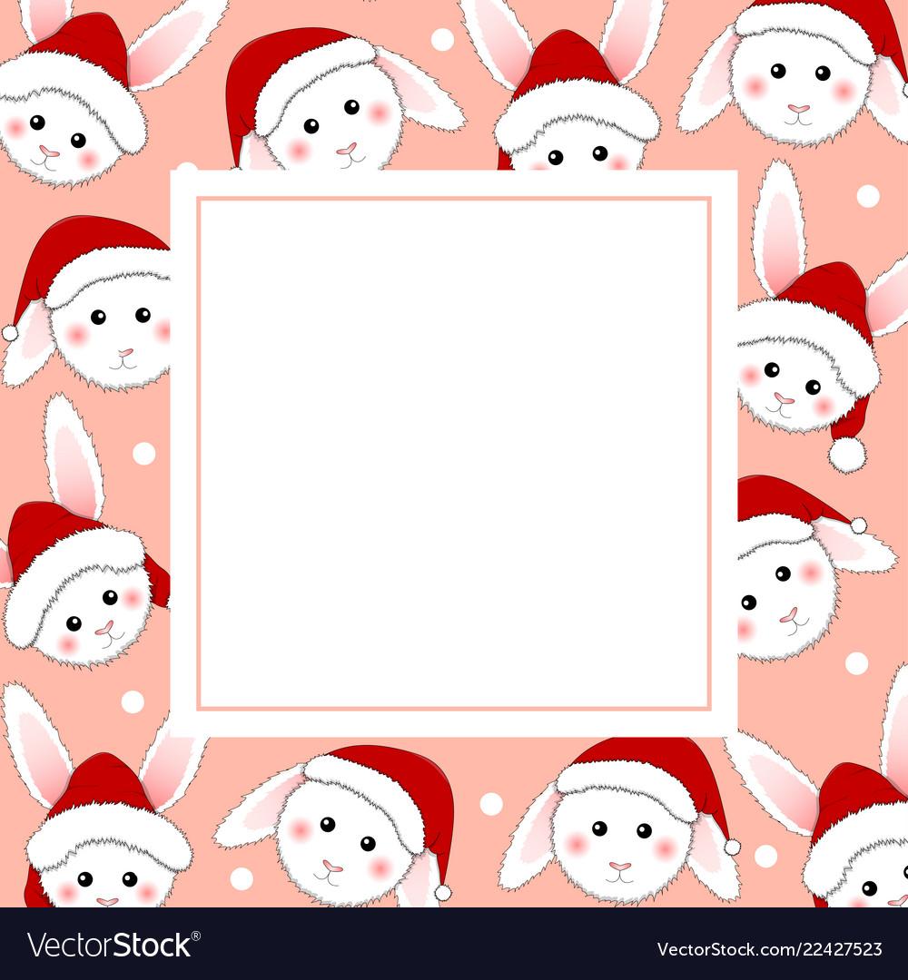 White rabbit santa claus on pink banner card