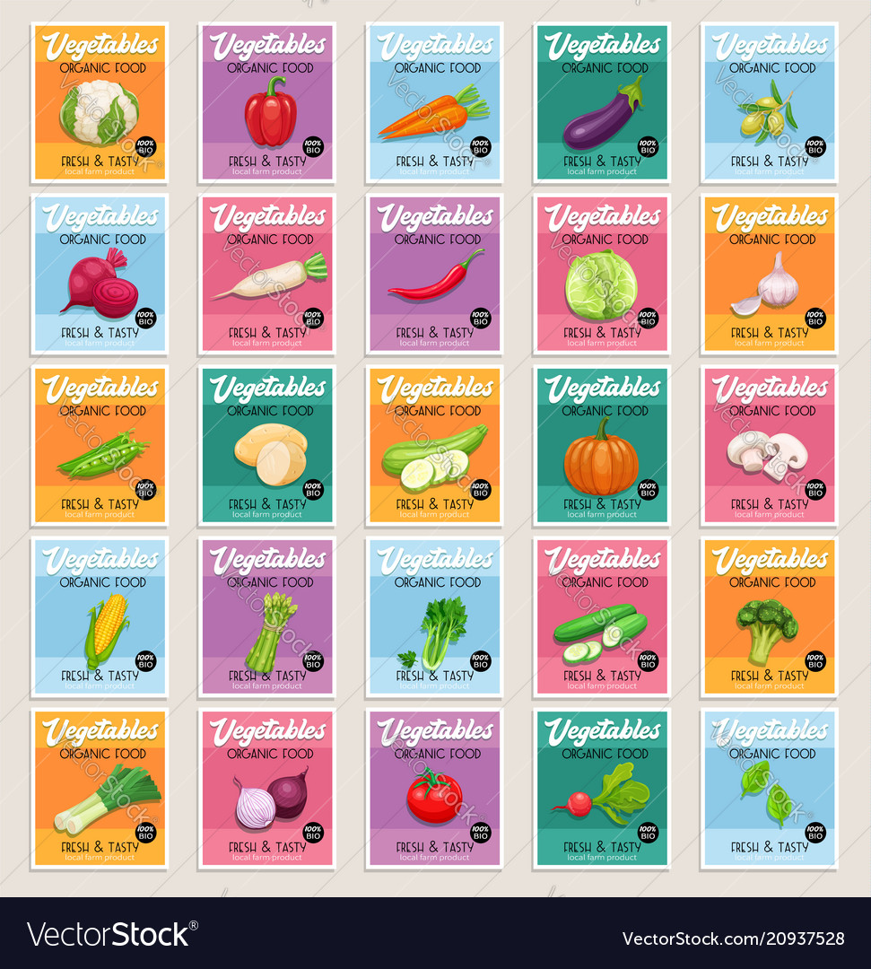 Banners or card vegetables