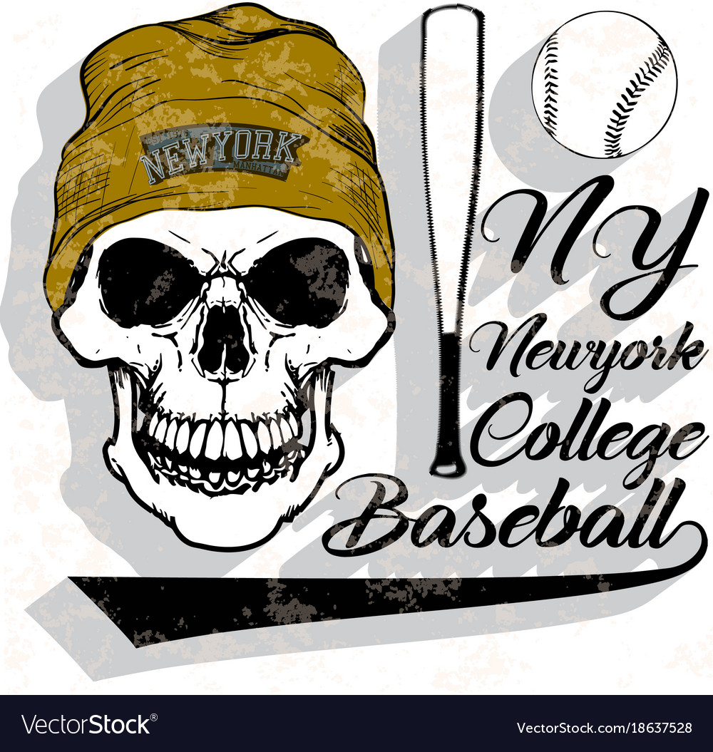 Baseball logo skull fashion